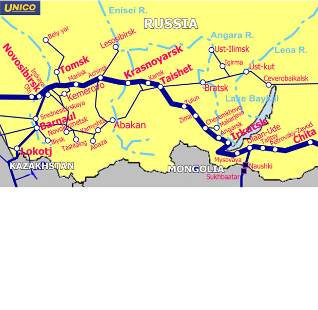 東シベリア鉄道地図