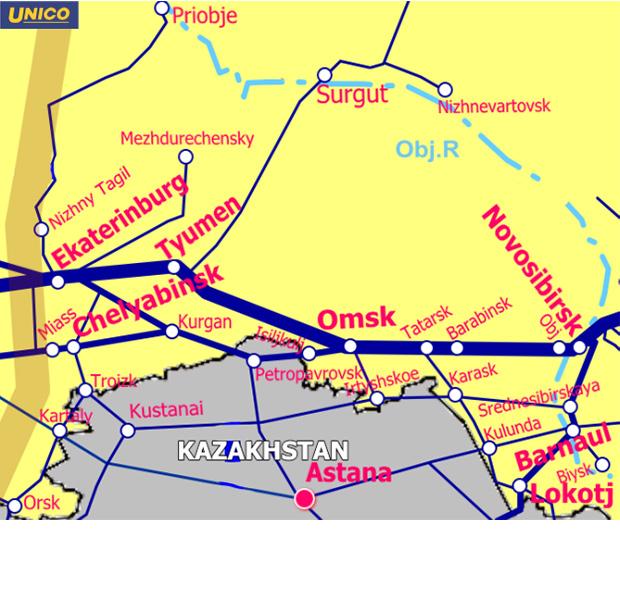 西シベリア鉄道地図
