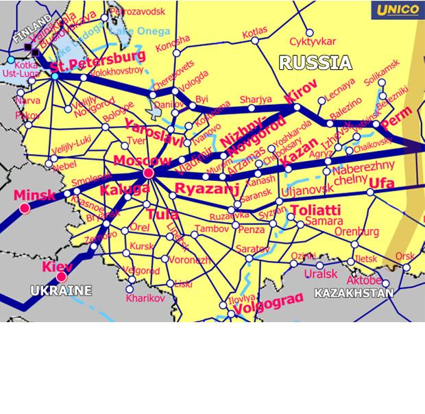 ロシア西部鉄道地図
