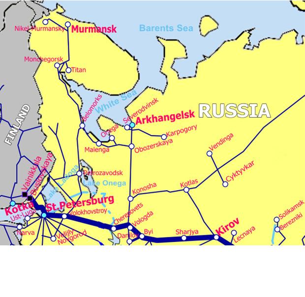 ロシア北部鉄道地図
