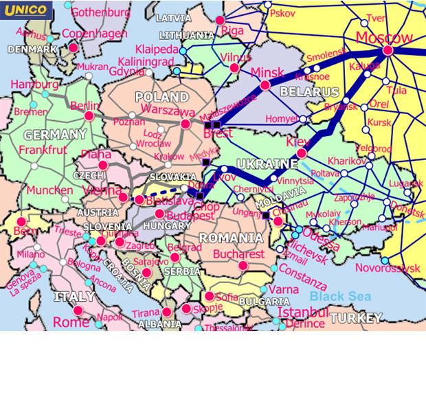 東・中欧鉄道地図